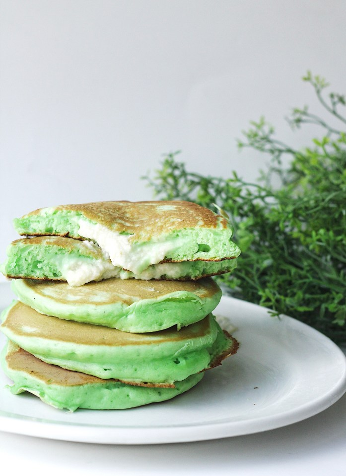 Pandan Pancakes with Coconut Custard Filling