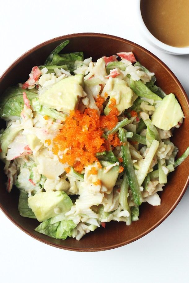 Avocado Crab Salad with Asian Sesame Dressing Recipe
