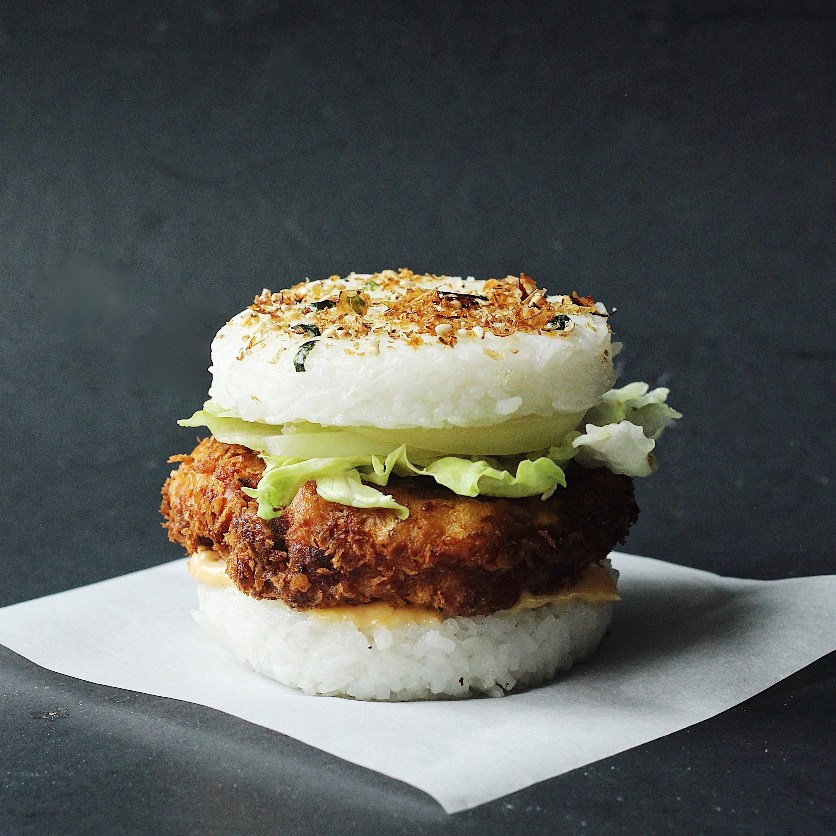 Crispy Shrimp Rice Burger Recipe Couple Eats Food