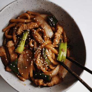 Fried Udon & Pork Stir-Fry