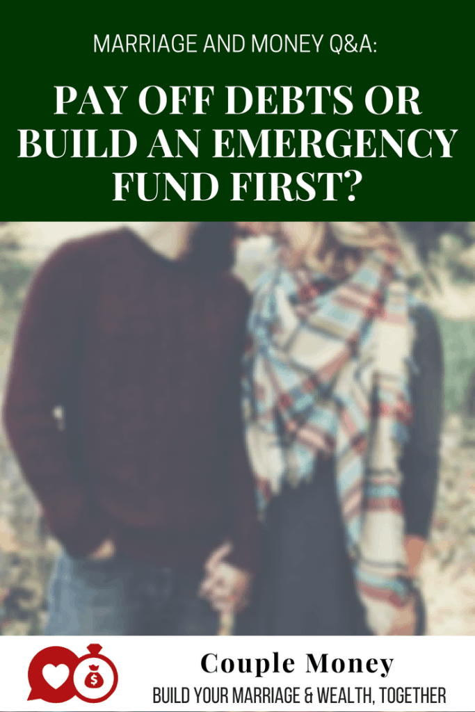 Not sure if you should pay off debt or have an emergency fund up first? Learn how to figure out the best appraoch for your marriage and money!