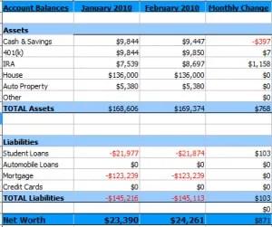 Summary of February 2010 Net Worth