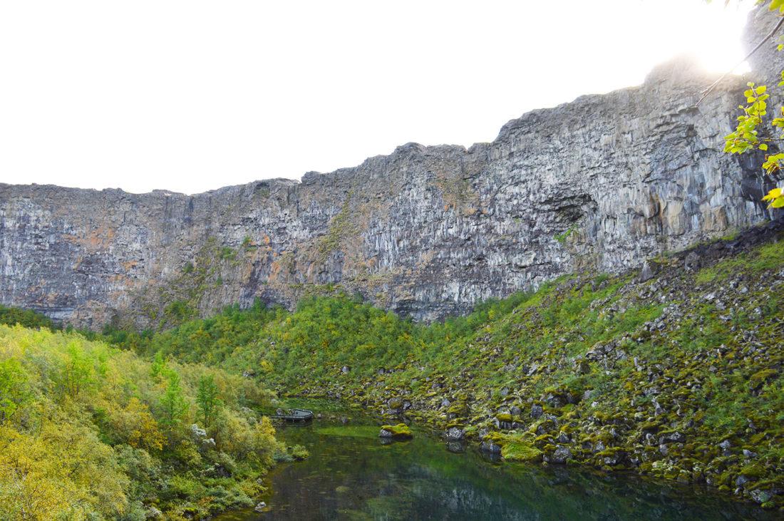 Hidden lake in Ásbyrgi | Gay Couple Road Trip East Iceland © Coupleofmen.com