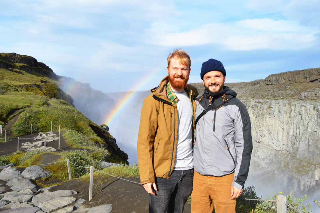 Dettifoss waterfalls and a rainbow | Gay Couple Road Trip East Iceland © Coupleofmen.com