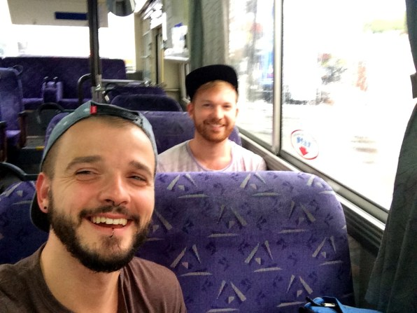 We in a Bus to Takijiri-Oji | Gay Couple Pilgrimage Kumano Kodo Japan © CoupleofMen.com