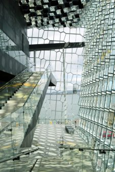 Reykjavik Gay Travel Harpa Glass Steel constructions | Gay Couple Travel City Weekend Reykjavik Iceland © Coupleofmen.com