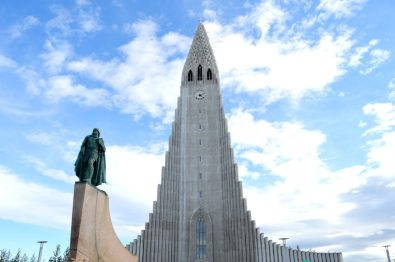 Reykjavik Gay Travel Hallgrímskirkja from the front | Gay Couple Travel City Weekend Reykjavik Iceland © Coupleofmen.com
