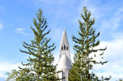 Hallgrímskirkja between trees | Gay Couple Travel City Weekend Reykjavik Iceland © Coupleofmen.com