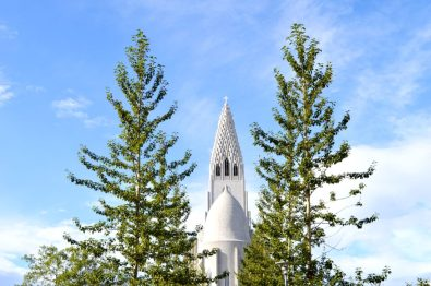 Reykjavik Gay Travel Hallgrímskirkja between trees | Gay Couple Travel City Weekend Reykjavik Iceland © Coupleofmen.com