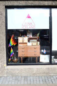 Reykjavik Gay Travel In front of the Pink Iceland Office   Gay Couple Travel City Weekend Reykjavik Iceland © Coupleofmen.com