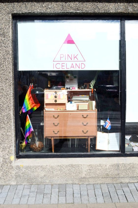 Reykjavik Gay Travel In front of the Pink Iceland Office | Gay Couple Travel City Weekend Reykjavik Iceland © Coupleofmen.com