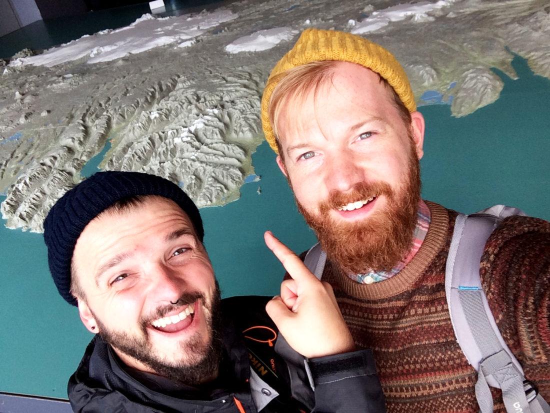 Selfie in front of the Map of Iceland   Reykjavik Gay Travel City Weekend Reykjavik Iceland © Coupleofmen.com