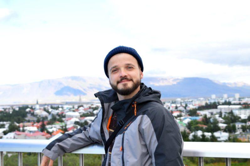 Karl overlooking Reykjavik | Gay Couple Travel City Weekend Reykjavik Iceland © Coupleofmen.com