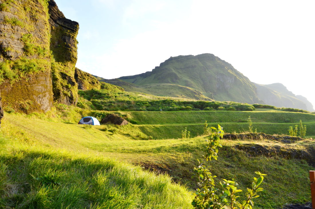 Our tent on the campsite | Gay Couple exploring South Iceland Vík Black Beach © CoupleofMen.com