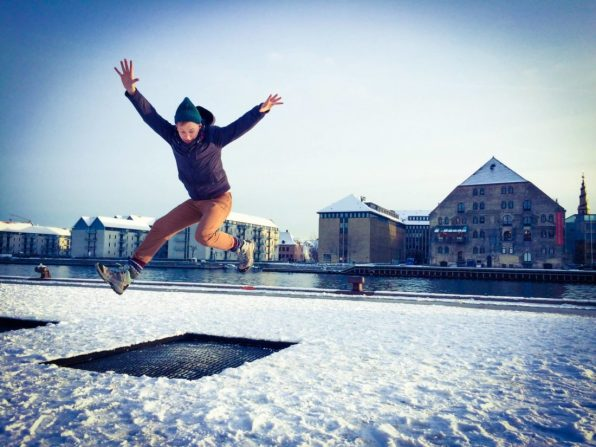 Daan Trampolin Jumping in Winter | Gay Travel Guide Tivoli Gardens Copenhagen Winter © CoupleofMen.com