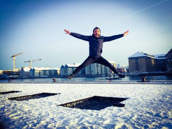Karl Trampolin Jumping in Winter | Gay Travel Guide Tivoli Gardens Copenhagen Winter © CoupleofMen.com