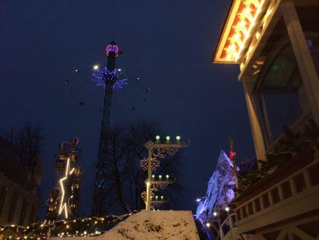 Wooden Rollercoaster by night   Gay Travel Guide Tivoli Gardens Copenhagen Winter © Coupleofmen.com