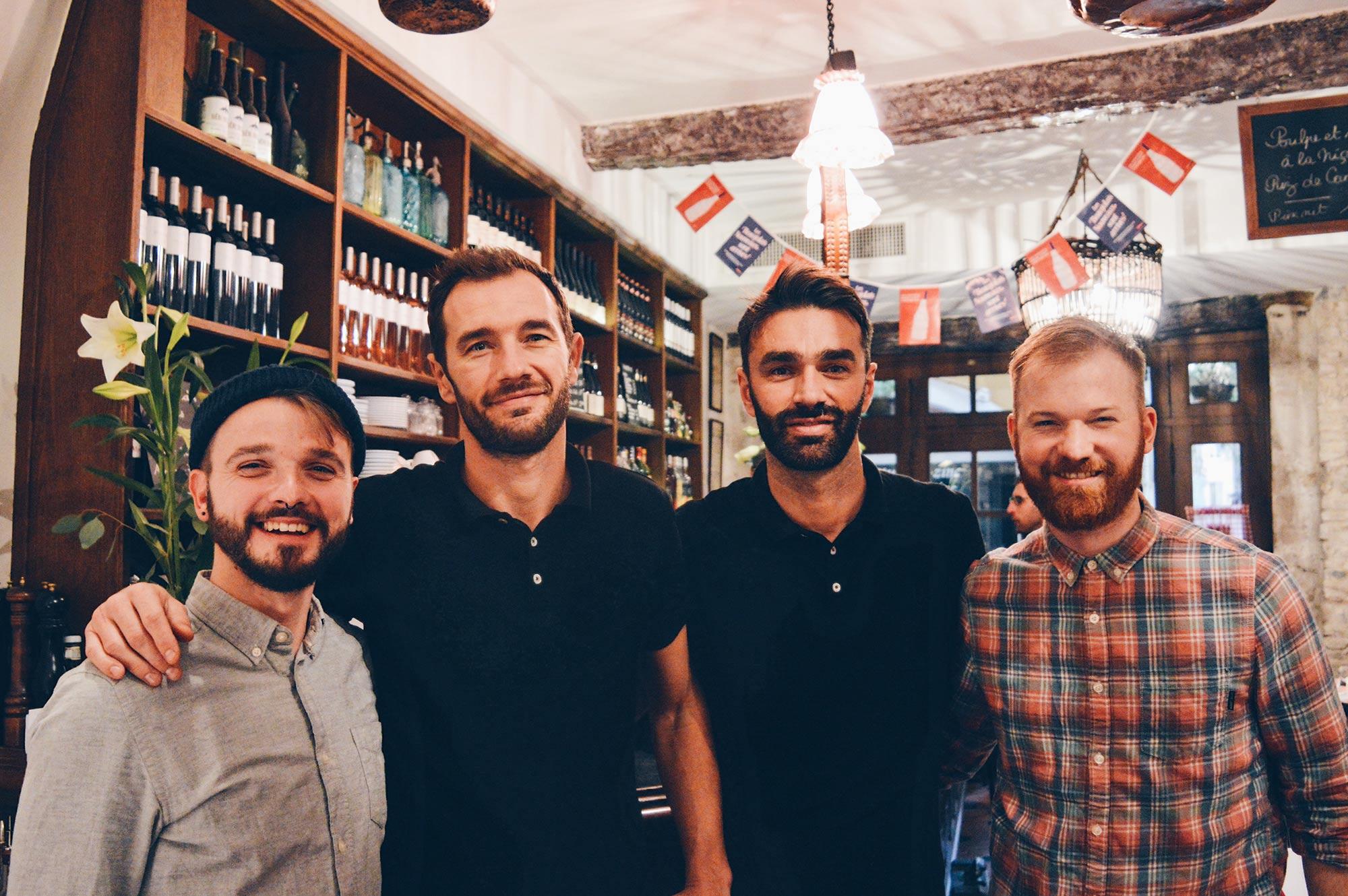 Italian Restaurant Chez Acchiardo Nice France 4 handsome sexy gay guys in Nice France