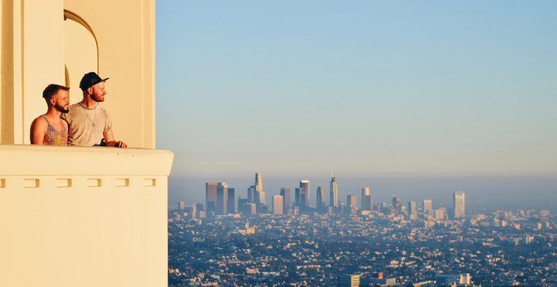 Gay Travel Gay Couple LGBT Simply the best view over L.A. from the Griffith Observatory © Coupleofmen.com