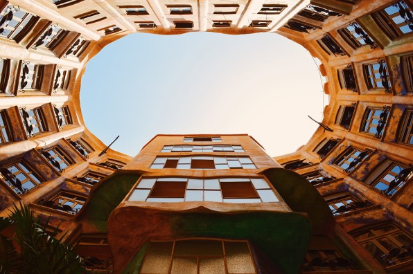 Backyard view from below | Gay Travel Guide Gaudi Architecture Casa Mila La Pedrera © Coupleofmen.com.com
