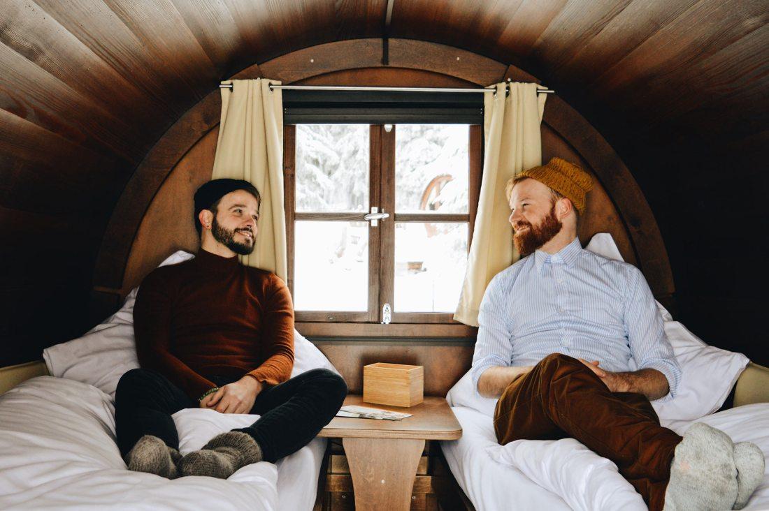 """Karl & Daan insider their """"Slumber Wine Barrel"""" at Taufsteinhütte in Central Germany © CoupleofMen.com"""