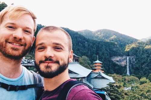 Gay Travel Bloggers hiking the Kumano Kodo in the Wakayama Mountains of Japan