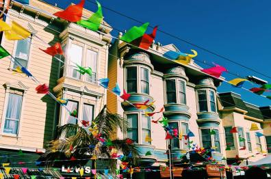 Photos Castro Street Fair Rainbow flags all over Castro district | Our Photo Story Castro Street Fair San Francisco © CoupleofMen.com