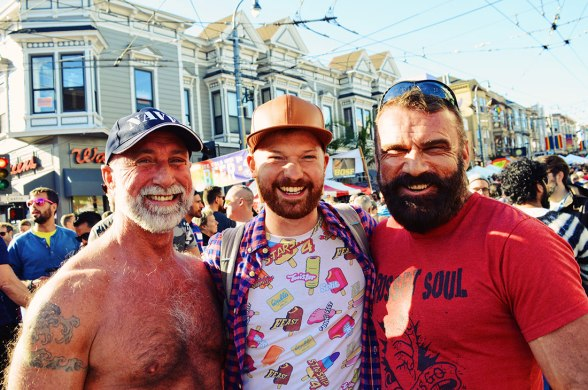 Daan with twi handsome American Bears | Our Photo Story Castro Street Fair San Francisco © CoupleofMen.com