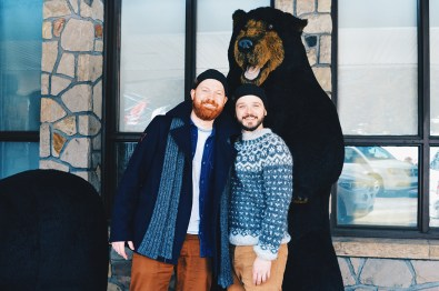 "Photo with a ""real"" Black Bear at Fairmont Jasper Park Lodge Alberta Canada © CoupleofMen.com"