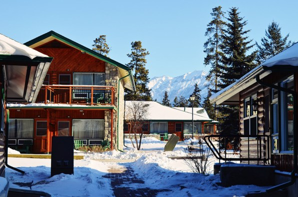 Staying with a view over the Rockies at Jasper National Park Lodge Alberta Canada Gay-friendly Hotel © CoupleofMen.com