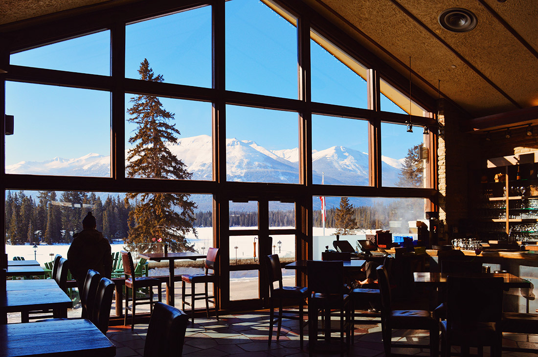 Staying with a view over the Rockies at Lobby Fairmont Jasper Park Lodge Alberta Canada © CoupleofMen.com