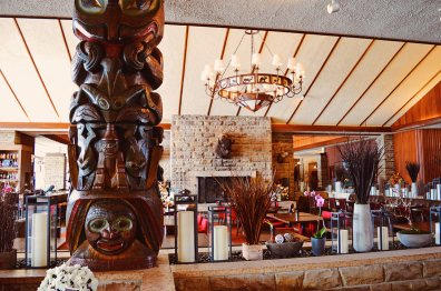Welcoming Lodge Lobby with first Nation Art in Alberta Canada Gay-friendly Hotel © CoupleofMen.com