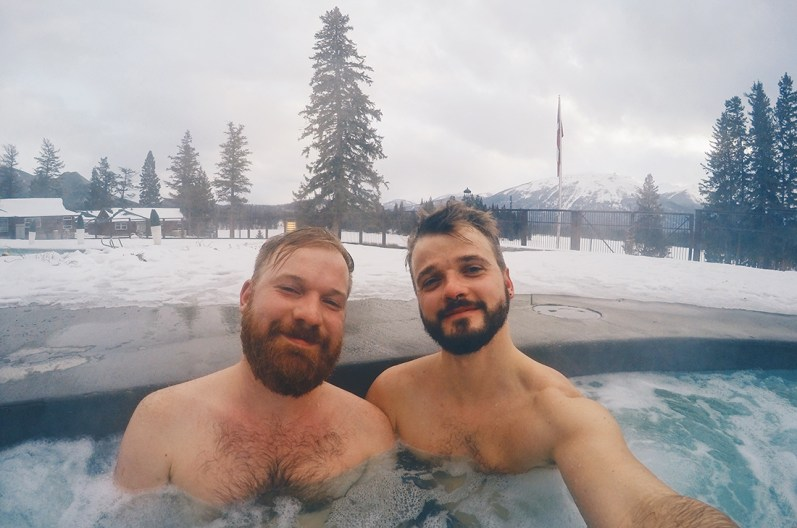 Outside Pool of the Fairmont Lodge Alberta Canada Gay-friendly Hotel © CoupleofMen.com