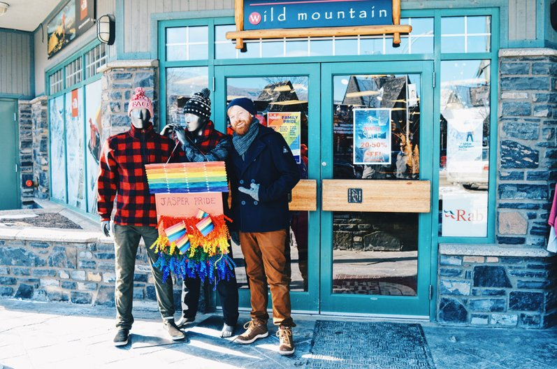 Window Rainbow Decoration Challenge | Highlights Jasper Pride Festival Rainbow Parade Marmot Basin © CoupleofMen.com