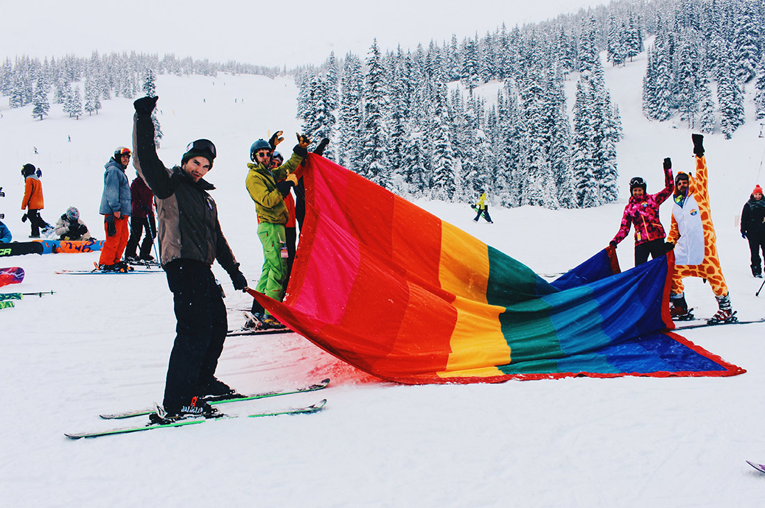 Gay Pride Rainbow Parade on the Ski Hills of Marmot Basin | Highlights Jasper Pride Festival Rainbow Parade Marmot Basin © Steven Bereznai
