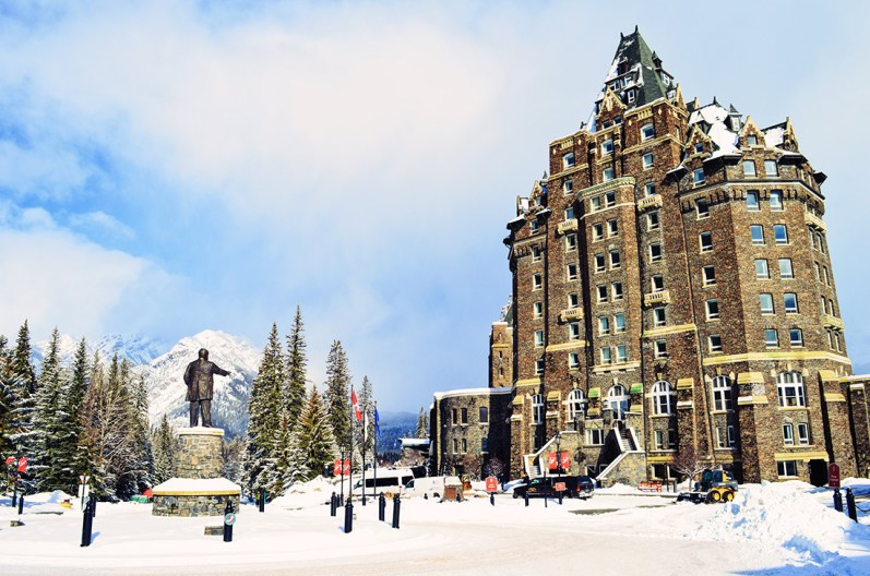 Unique architecture and design like a knight's castle in the Rocky Mountains | Fairmont Banff Springs Castle Hotel Gay-Friendly © CoupleofMen.com