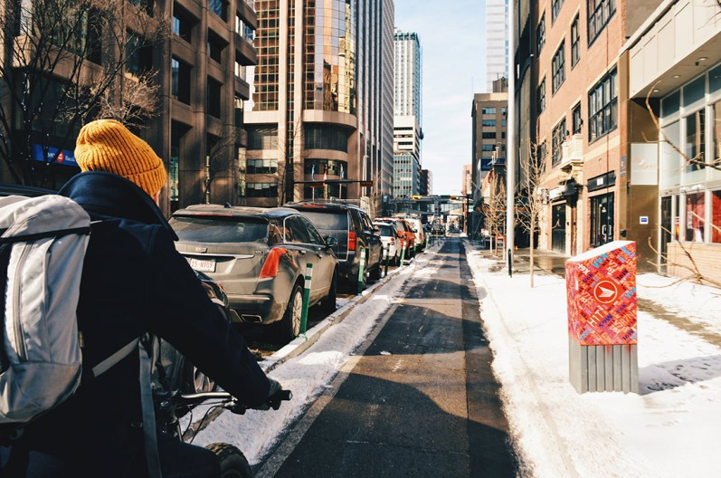 Daan on his Fat Bike on a bikeway in Downtown Calgary | Fat Tire Biking Calgary Nomad Gear Rentals © CoupleofMen.com