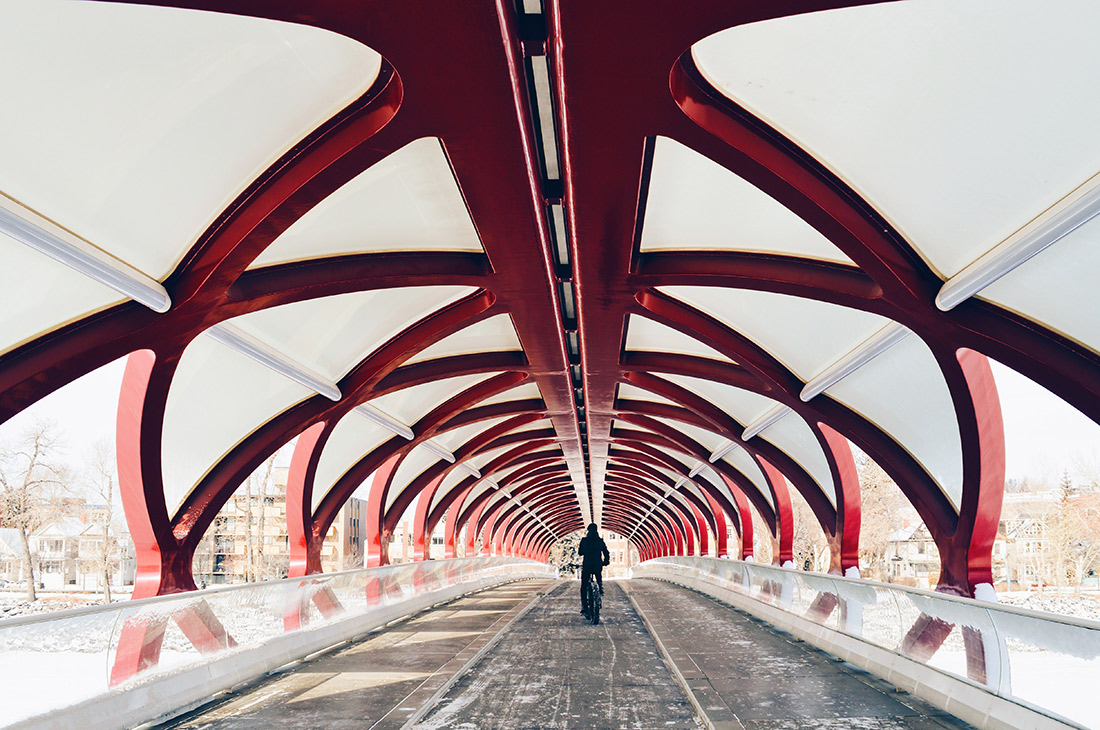 Red Peace Bridge by Calatrava | Fat Tire Biking Calgary Nomad Gear Rentals © CoupleofMen.com