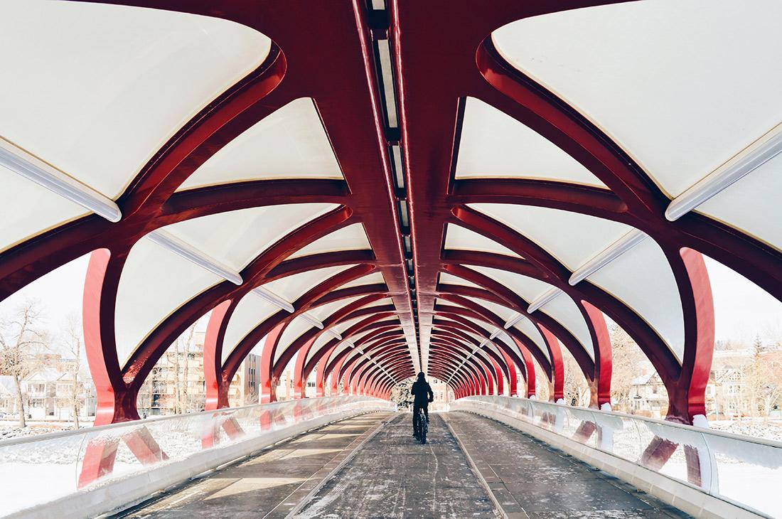 Red Peace Bridge by Calatrava   Fat Tire Biking Calgary Nomad Gear Rentals © CoupleofMen.com