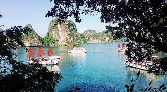 Dragon Junks Halong Bay view | Top Highlights Best Photos Gay Couple Travel Vietnam © CoupleofMen.com