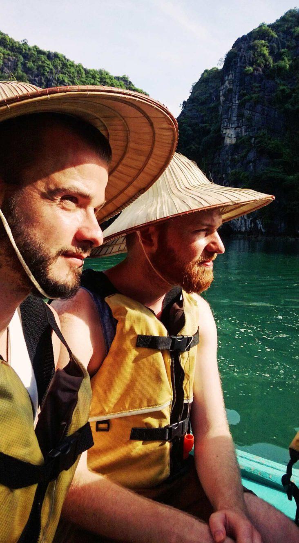 Gay Travel Adventure Vietnam Explorer Karl & Daan on our Halong Bay Adventure | Top Highlights Best Photos Gay Couple Travel Vietnam © CoupleofMen.com