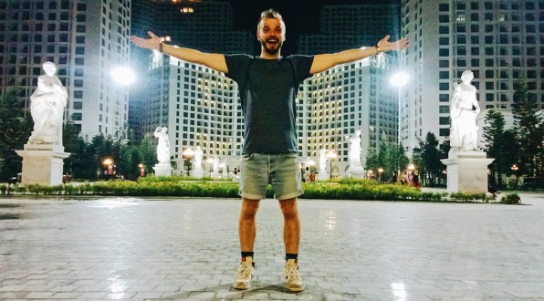 Karl in front of shopping mall in Hanoi | Top Highlights Best Photos Gay Couple Travel Vietnam © CoupleofMen.com