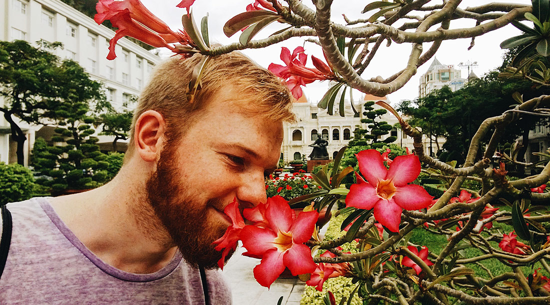 Daan in front the Ho Chi Minh City Hall in Ho Chi Minh City | Top Highlights Best Photos Gay Couple Travel Vietnam © CoupleofMen.com
