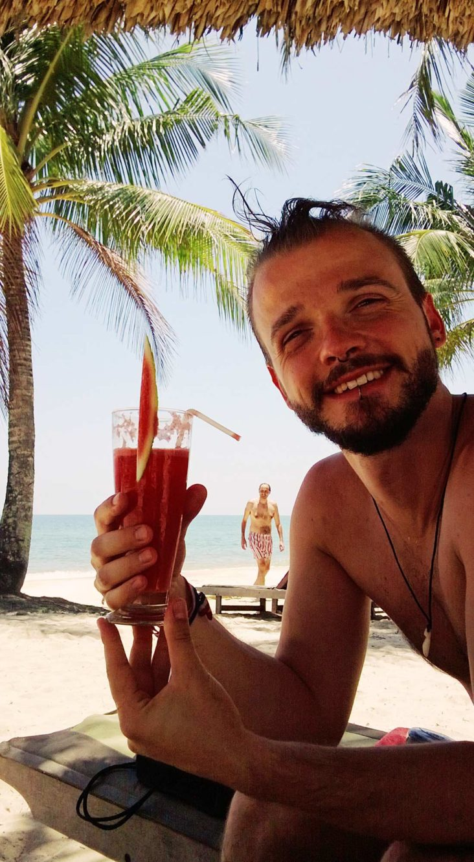 Karl having a Drink at Mai House Resort on Phu Quoc Island | Top Highlights Best Photos Gay Couple Travel Vietnam © CoupleofMen.com