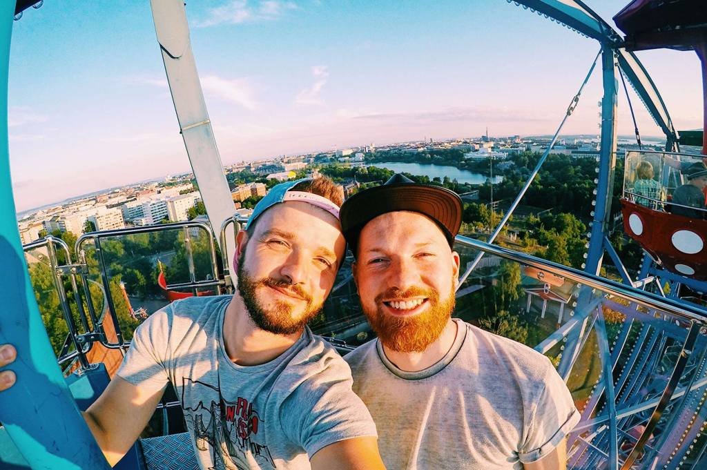 Karl & Daan riding Ferris Wheel | Gay Couple Review Theme Park Linnanmäki Helsinki Finland © CoupleofMen.com
