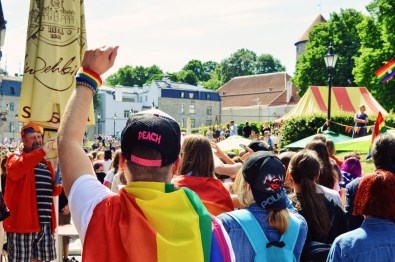 Karl as gay activist fighting for human rights | Baltic Pride 2017 Tallinn Best Powerful LGBTQ Photos © CoupleofMen.com