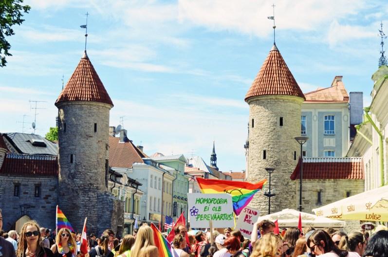 Rainbow colored gathering at Viru Gate Tallinn   Baltic Pride 2017 Tallinn Best Powerful LGBTQ Photos © CoupleofMen.com