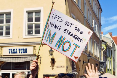 Many self-made posters and banners for Baltic Pride 2017 Tallinn Best Powerful LGBTQ Photos © CoupleofMen.com