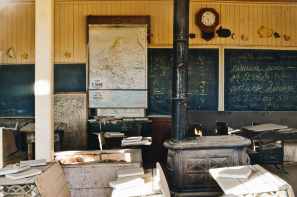 Class Room with Map of Europe and blackboard | Ghost Town Bodie State Historic Park California © CoupleofMen.com