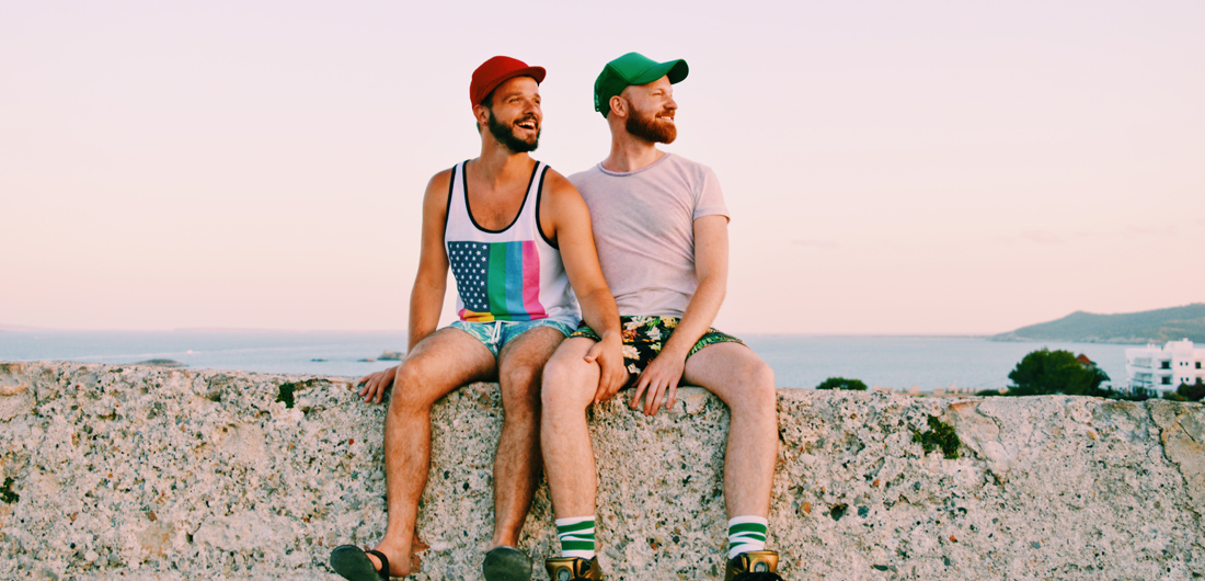 Ibiza Gay Travel Tips Karl & Daan enjoying the view over Ibiza Town | Gay Couple Travel on Ibiza at the Gay Beach during our The Cruise Stop Over -